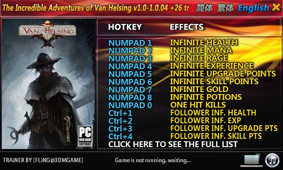 The Incredible Adventures of Van Helsing 1.0-1.0.04 +26 Trainer [FliNG]